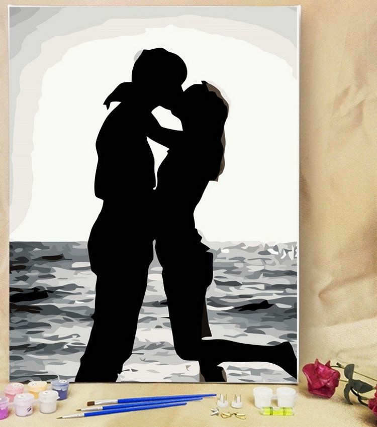 Paint By Number Kit 16 20 Diy Painting Black White Couple