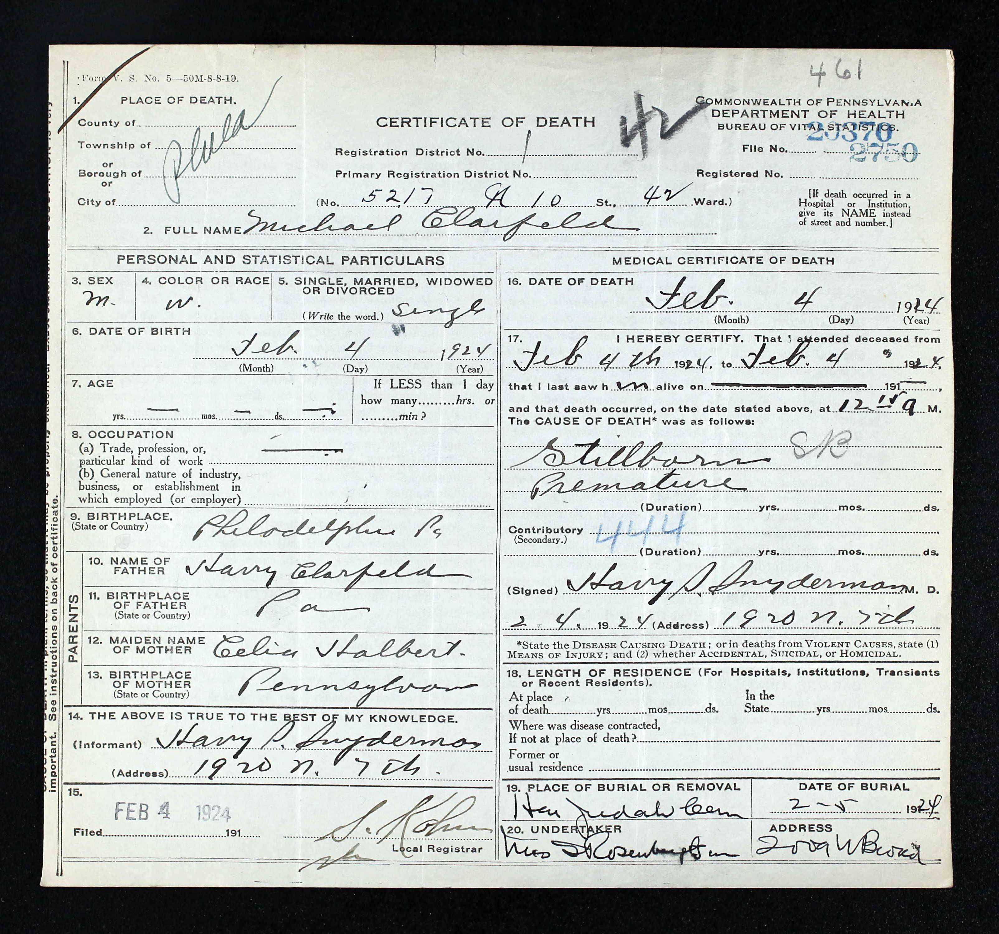 Michael Clarfeld Sex M Race W Age 0 Birth 4 Feb 1924 Birth ...