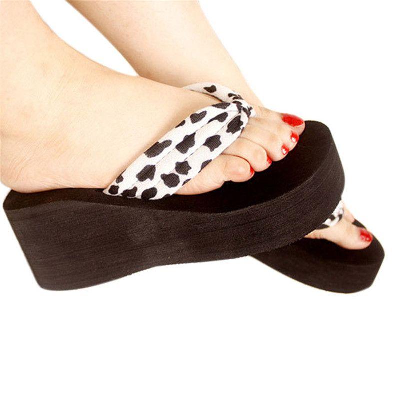 shoes woman 2017 Fashion Women Leopard Sandal Plat form Wedges Flip Flops  Home Slippers Shoes Casual