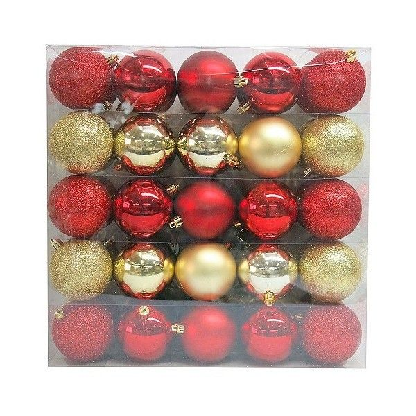 50ct 70mm Red Gold Shatterproof Christmas Ornament Set Featuring Polyvore Home Home Decor Holiday D Christmas Ornament Sets Ornament Set Christmas Ornaments