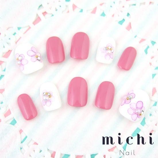 大人ピンクのたらしこみネイル - ネイルチップ(つけ爪)専門店 michi