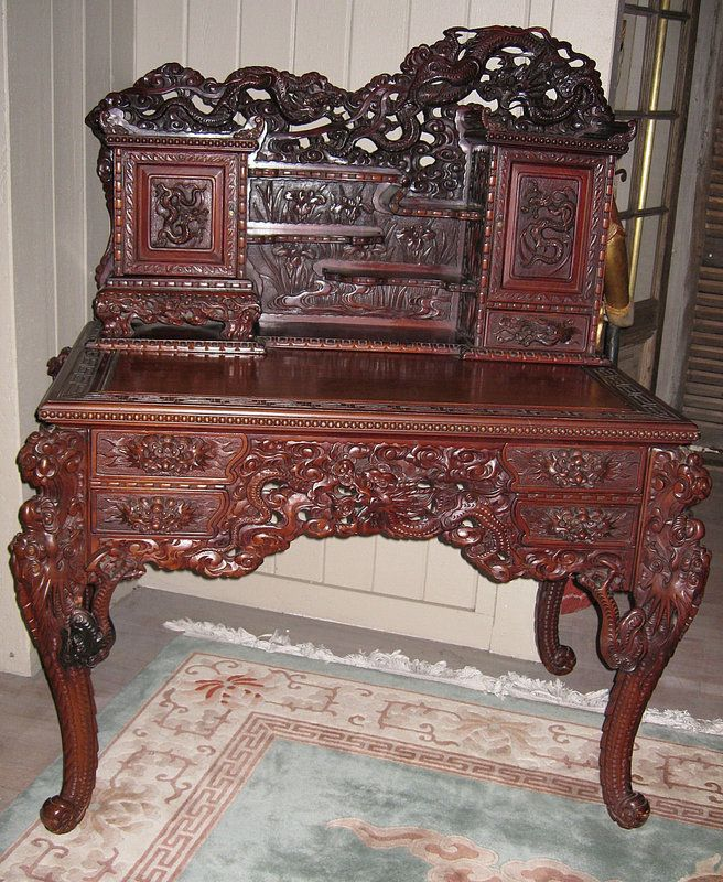 Exquisitely Anese Carved Export Dragon Desk Oh My Amazing
