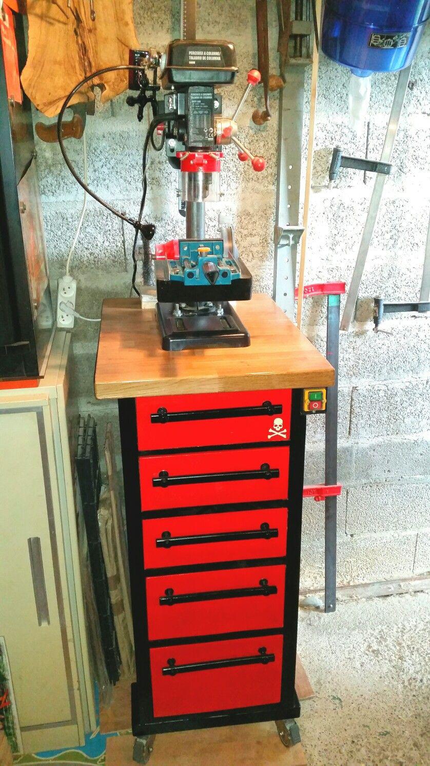 Diy Mobile Drill Press Cabinet By R2ekogp Etape 13 2 Meuble Perceuse A Colonne Fait Maison Vue De Face Perceuse A Colonne Diy Meuble Perceuse