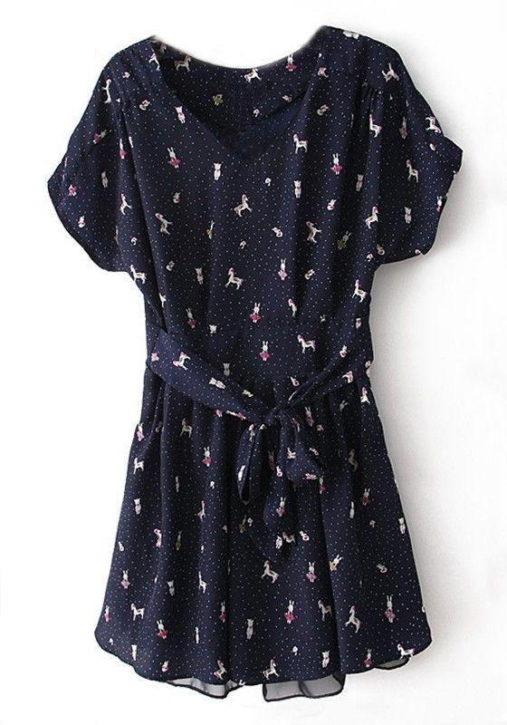 3* Blue Little Pony Polka Dot Pearl Yarn Dress