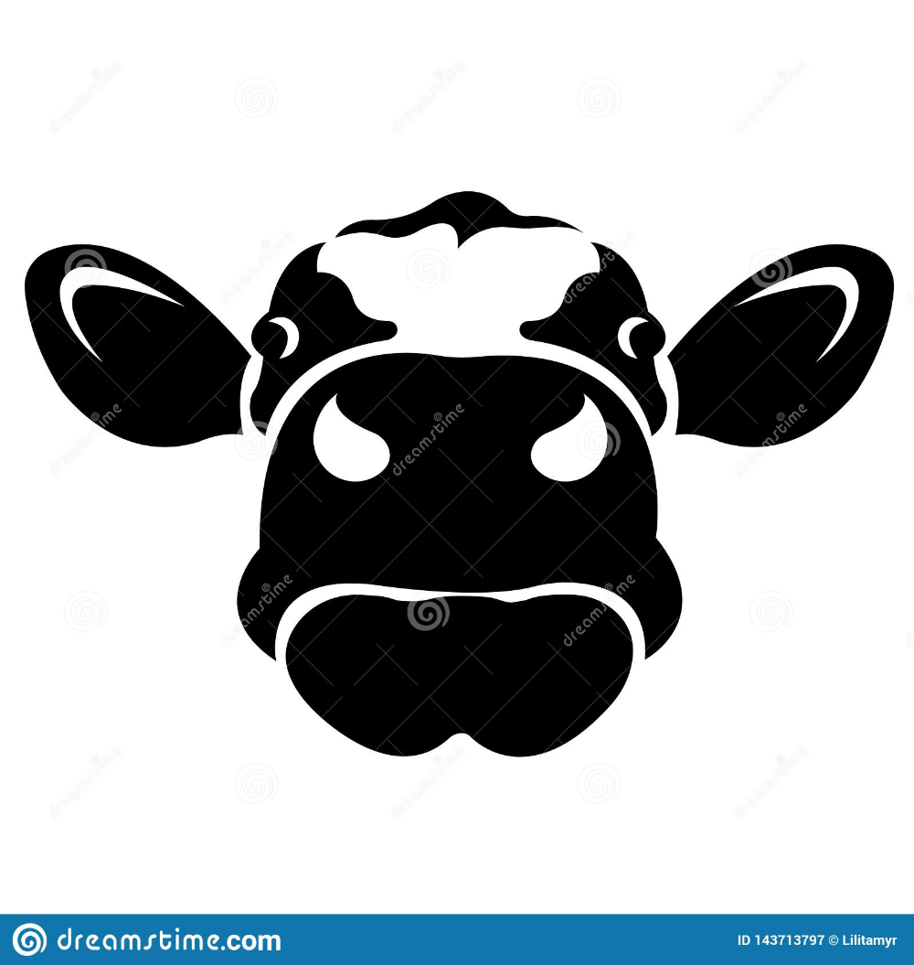 Illustration About Silhouette Face Cow Head Painted In Black Logo Animal Cow Vector Illustration Illustration Of Isol Silhouette Face Animal Logo Cow Head