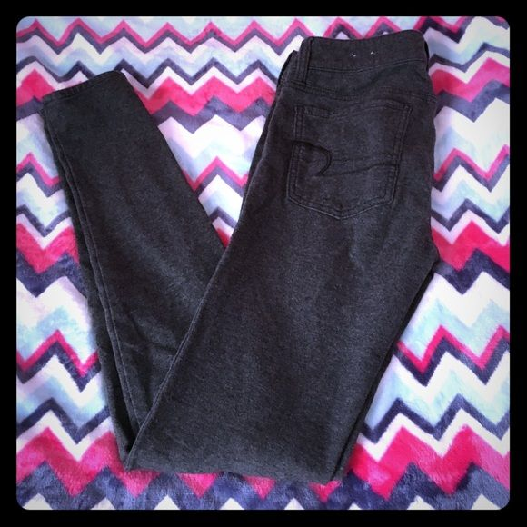 Super Stretch Jeggings!  Heather grey good condition only worn once. American Eagle Outfitters Pants Skinny