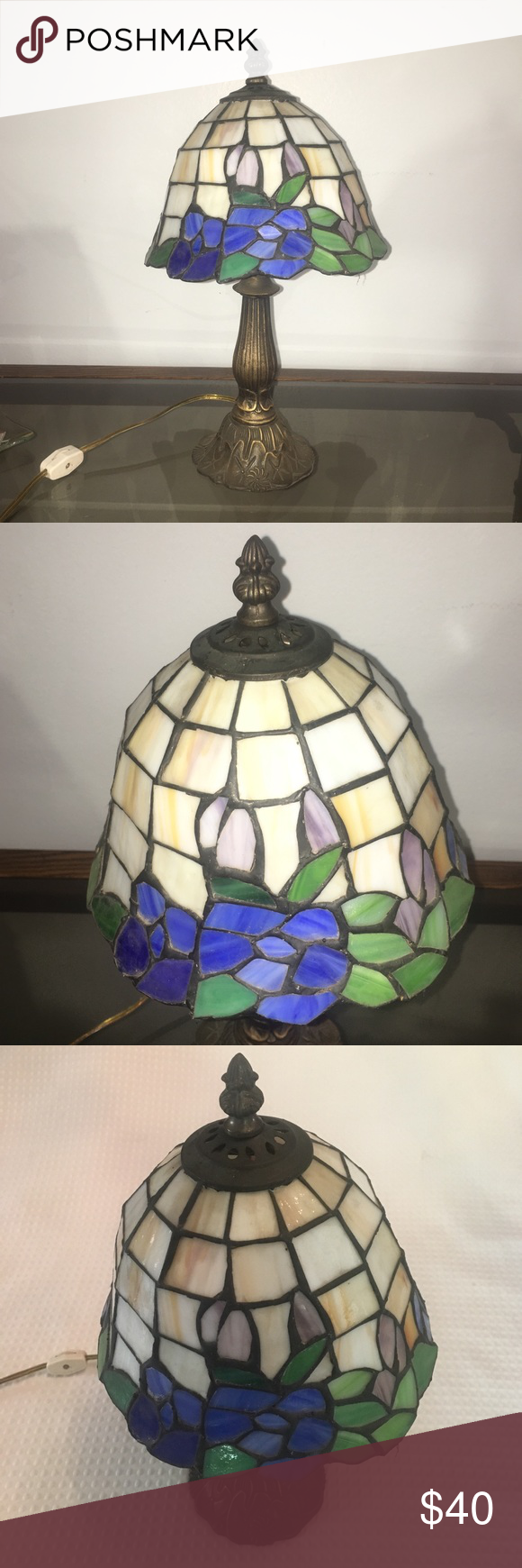 """Vintage 14"""" Tiffany Inspired Glass Lamp In excellent working condition. Takes a 25 watt chandelier bulb. Perfect for a bedside or dressing table. 14"""" tall. Other"""