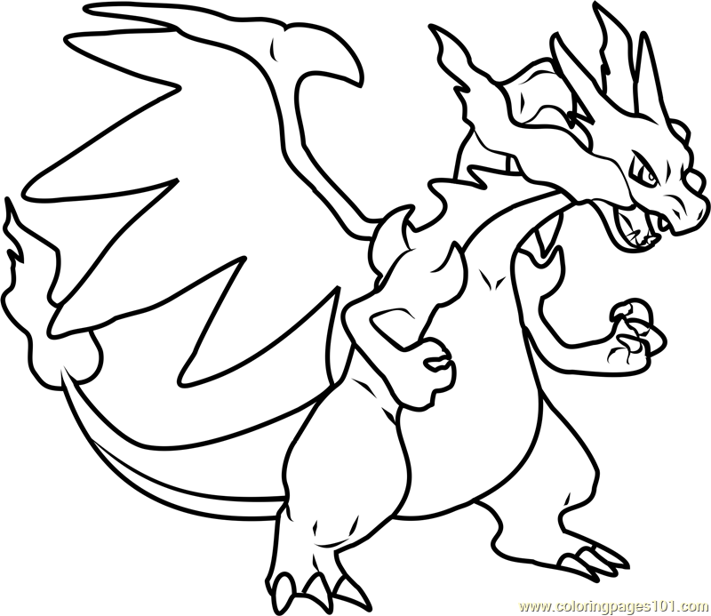 Mega Charizard X Pokemon printable coloring page for kids