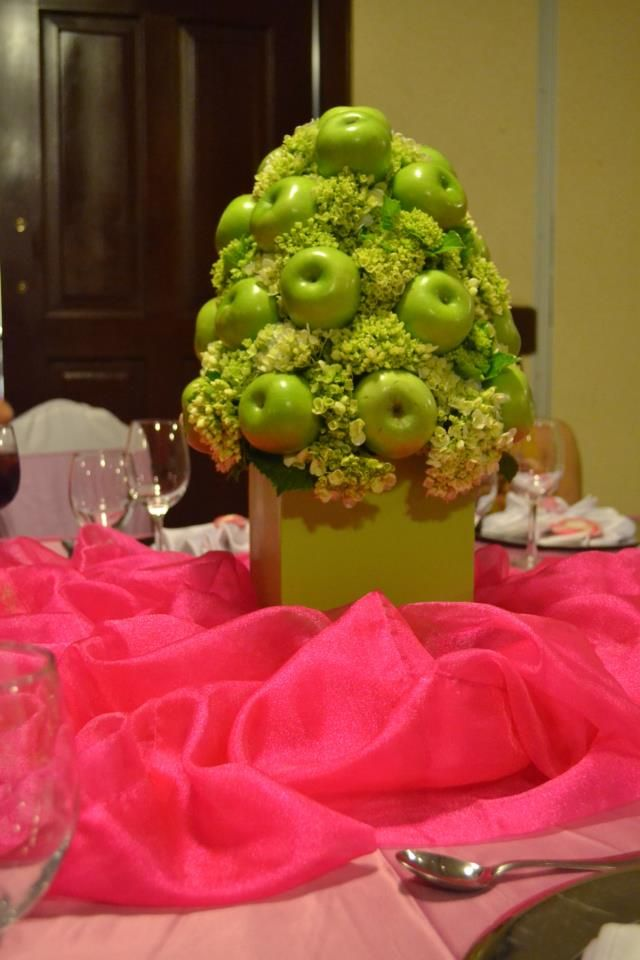 Princess luciana baby shower centerpiece green hydrangea