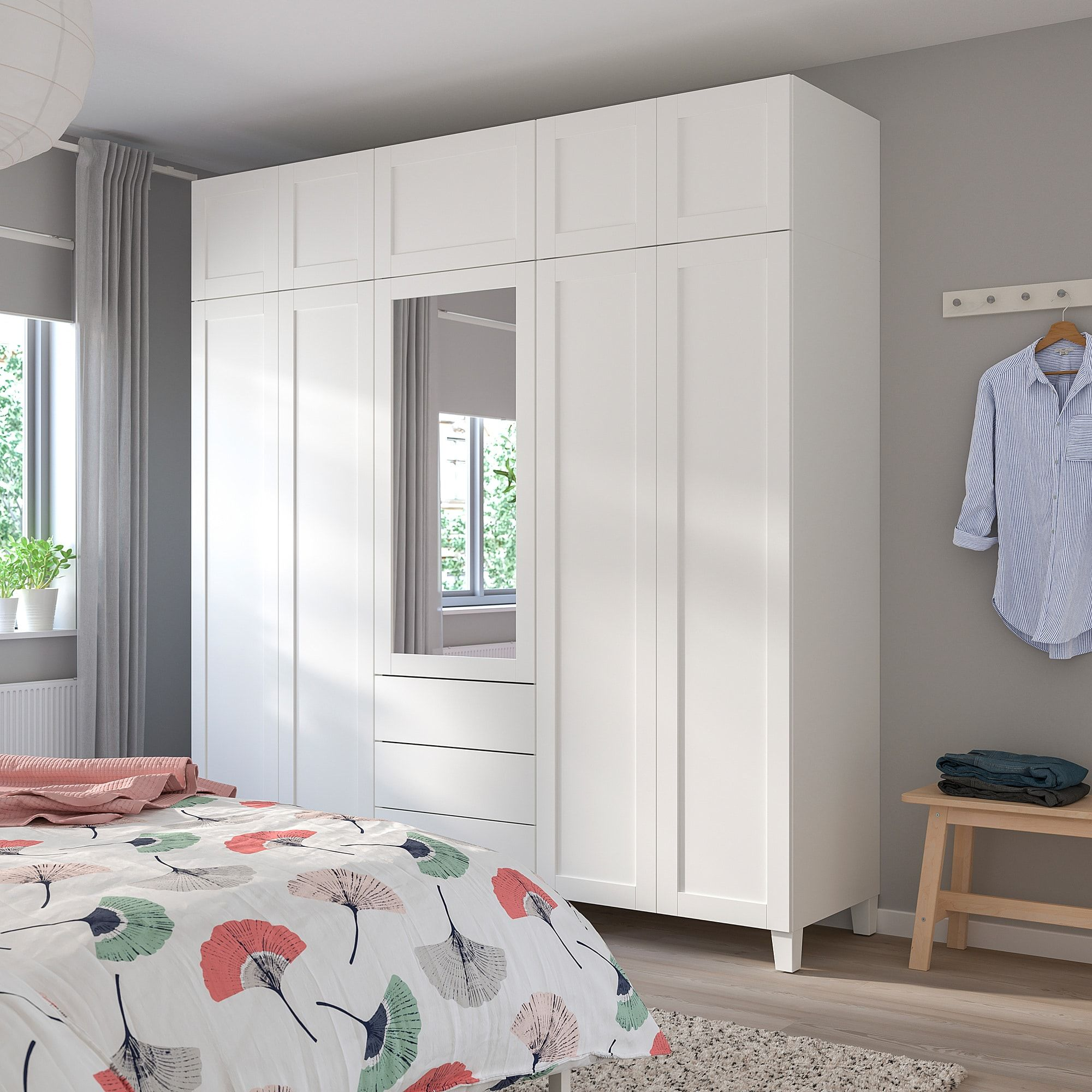 Platsa Wardrobe White Sannidal Ridabu 220x57x231 Cm In 2020