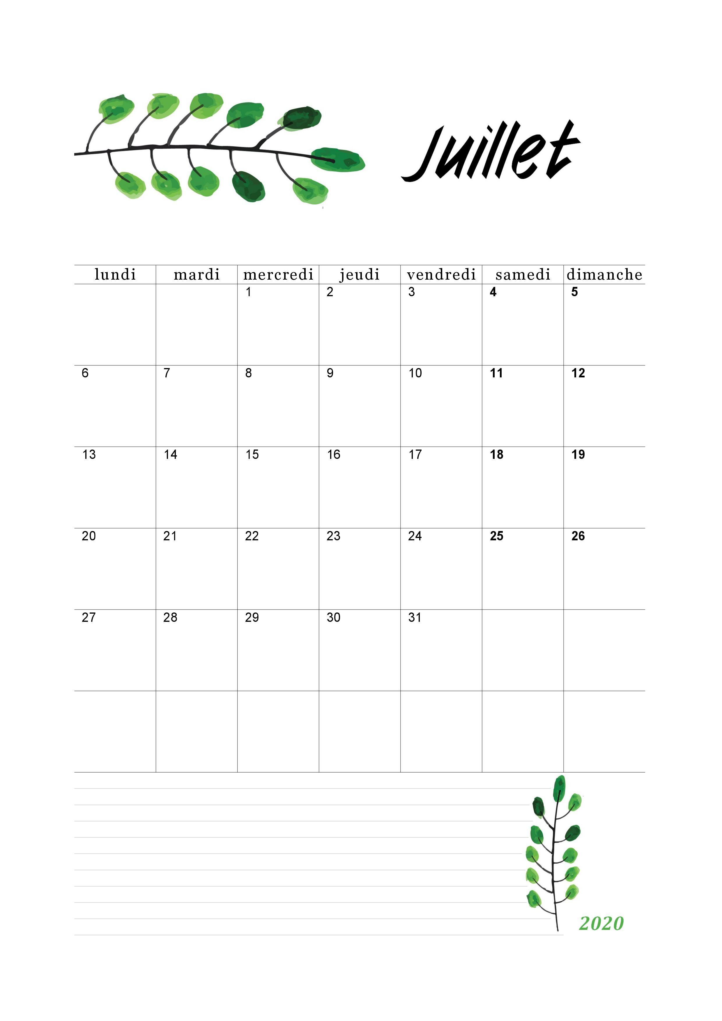 Calendrier 2020 Mensuel à Imprimer (pdf gratuit) | Calendrier