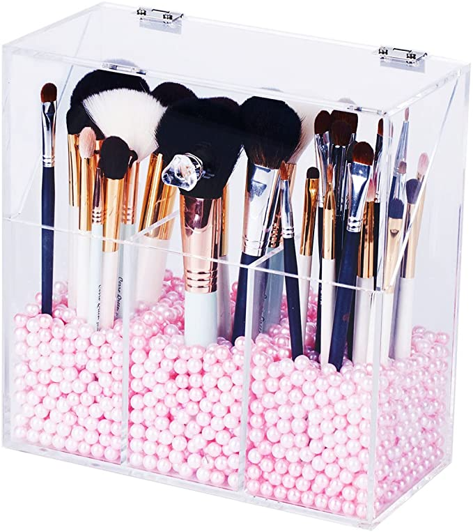 Newslly Clear Acrylic Makeup Organizer with 3