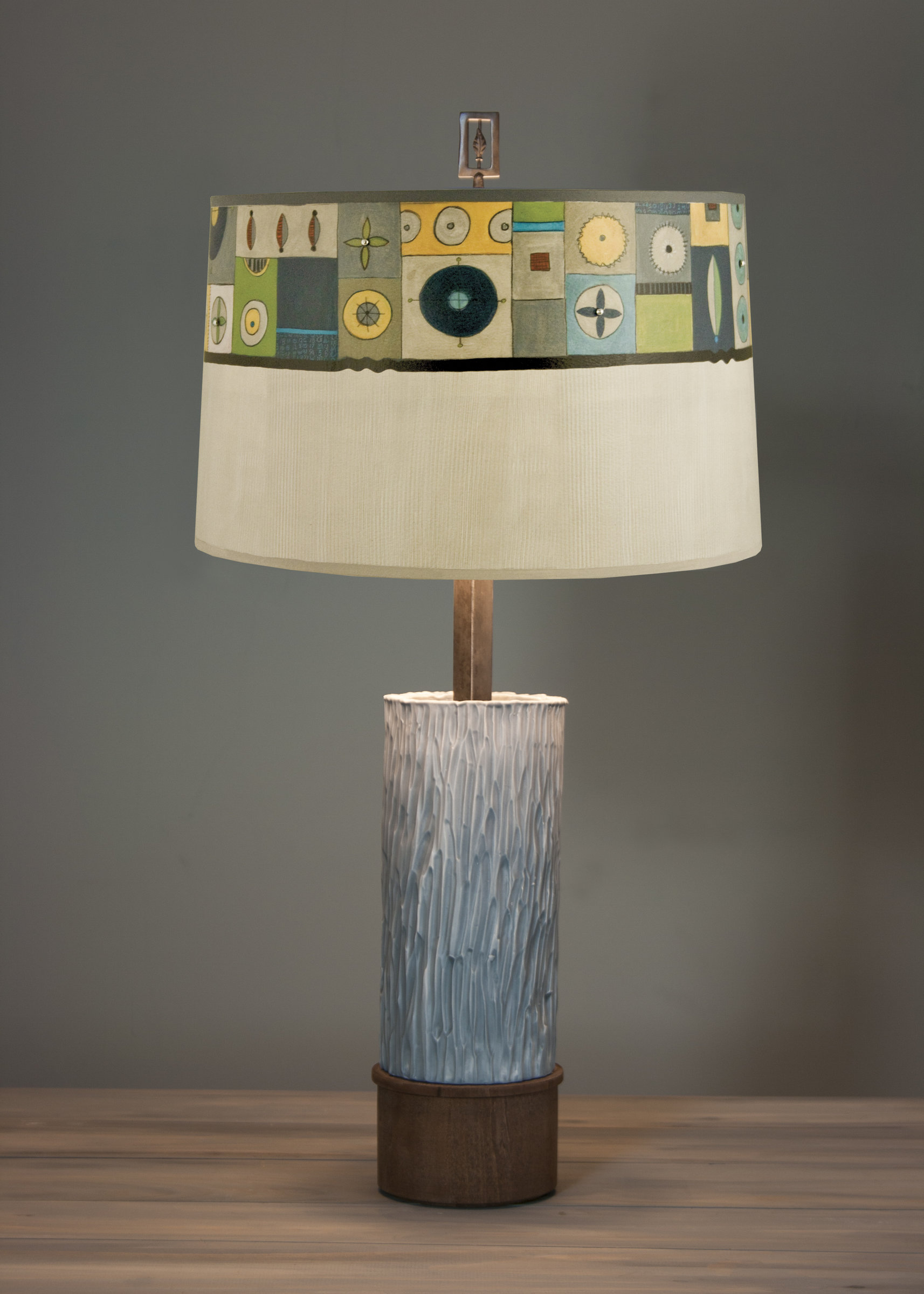 Ceramic And Wood Table Lamp With Large Conical Shade In