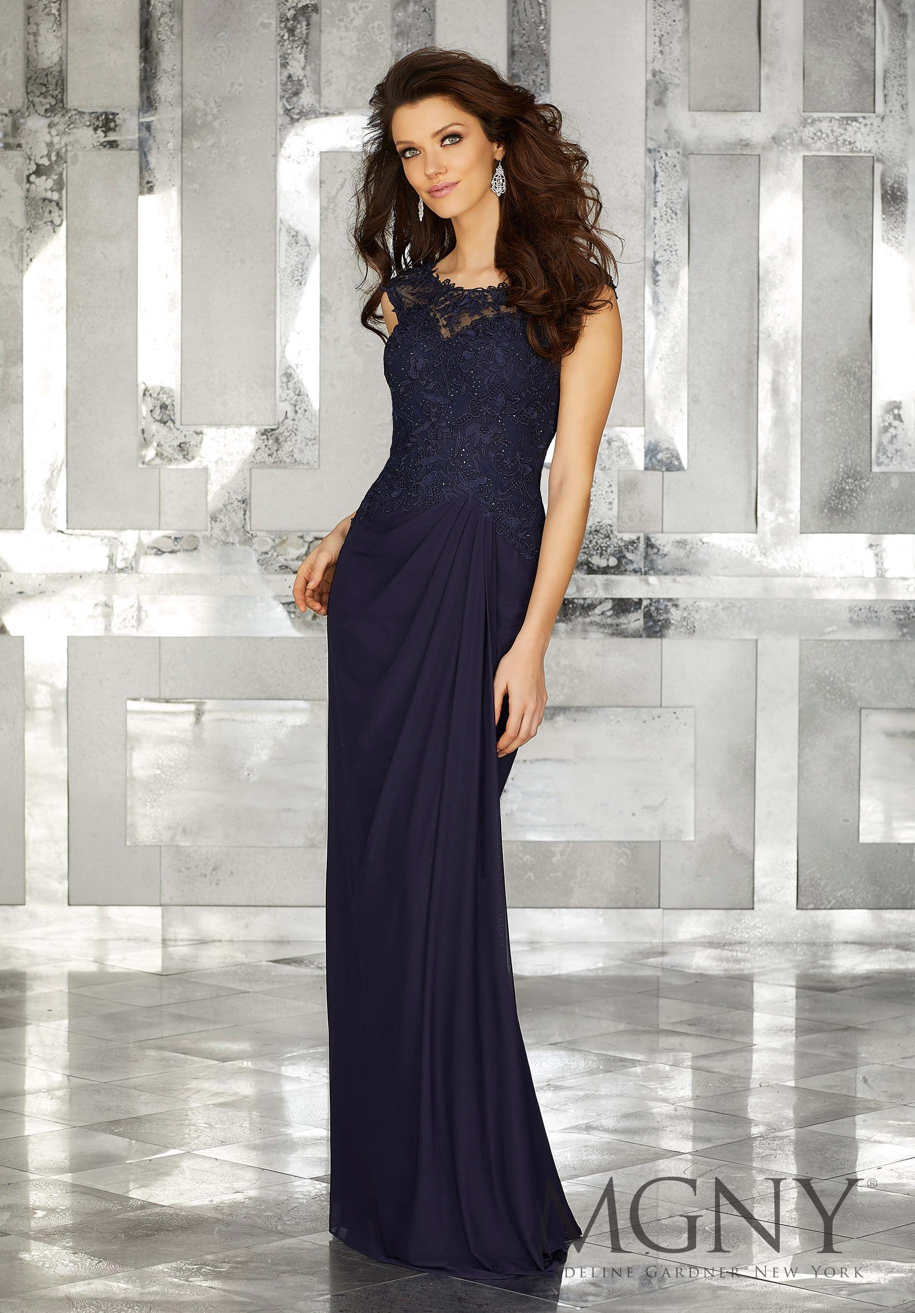d4c0a0052c43 MGNY | Madeline Gardner, Evening Dress style 71610. Elegant Blue Stretch  Mesh Long Special