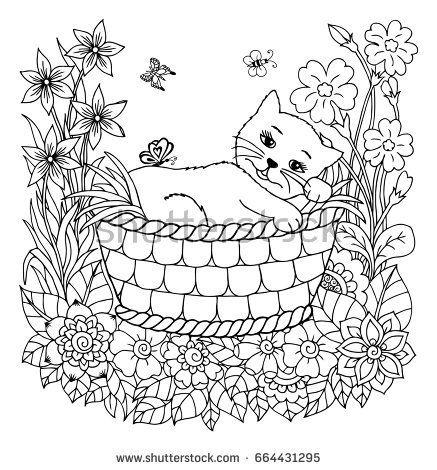 Vector illustration zentangl. A kitten in a basket in a