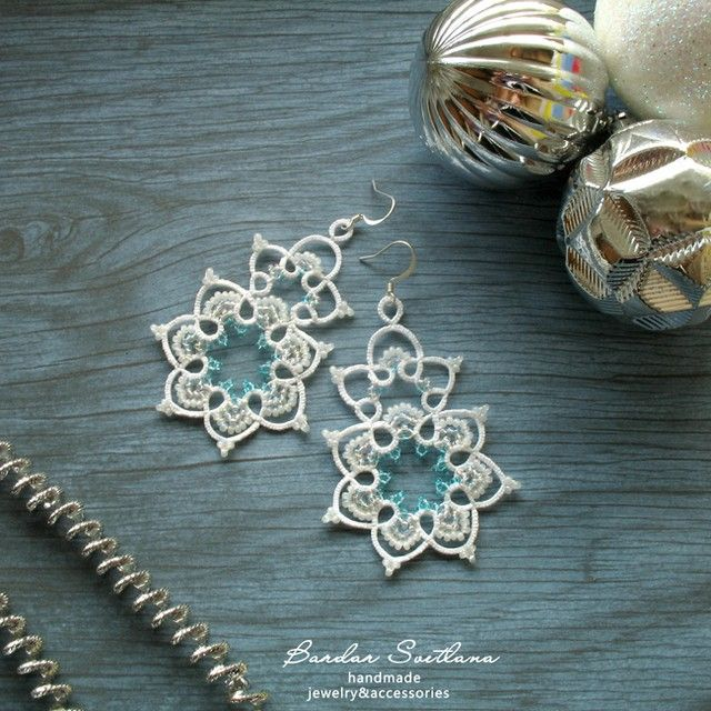 """For those who have a warm heart, pure thoughts and a romantic mood. New lace earings """"Elza"""". The dimensions of the lace: 6.7*5.0 cm. Pure cotton thread, czech seed beads.  #фриволите #ручнаяработа #bardarsvetlanalace #хендмейд  #boho #blue #white#tatting #ukraine"""