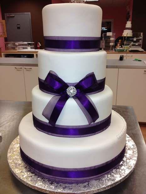 Simple Purple Ribbon Wedding Cake Cake Wedding Cakes