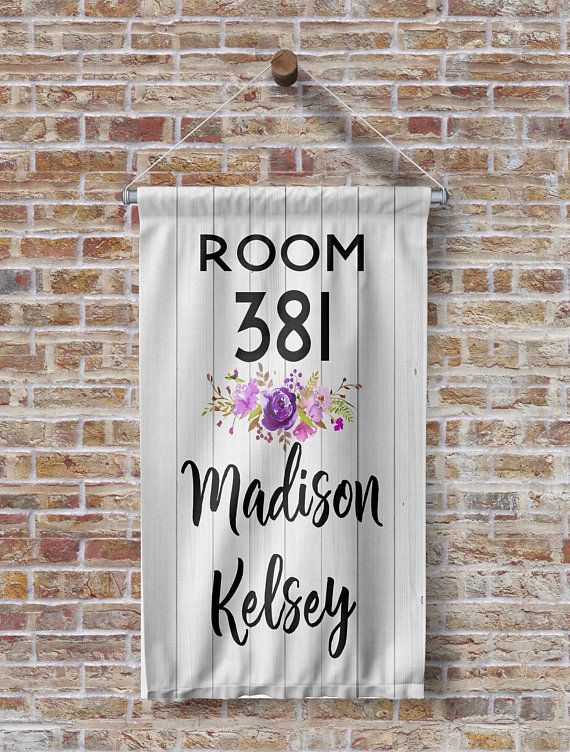 Custom Dorm Room Number Name Banner Sign Dorm Decor is part of Dorm decor Signs - flag   A great way to greet new friends    To personalize, please mention the information in the notes section during checkout (last screen)  Once an order is placed and before the banner is made, a proof will be sent  The banner is available in 3 sizes and does not include the dowel   The dowel and ribbon can be purchased at your local craft store or used 3M strips to properly hang  Color Shown is Pink with White Lettering The artwork is printed onto a polyester flag which means it will hold up to the elements and will not peel, fade or rub off  It is not a decal   It is printed on one side  Please feel free to send us an email if you have any questions    copyrights 2016 HeartlandSigns