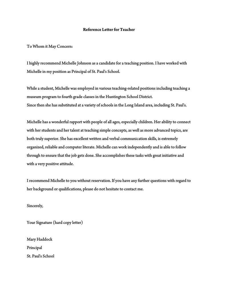 Substitute Teacher Report Template In 2021 Teacher Letter Of Recommendation Letter To Teacher Reference Letter
