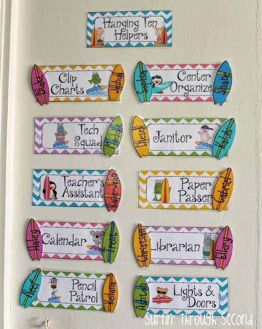 Classroom Ideas Year 3 ~ Classroom reveal and linky job chart surf