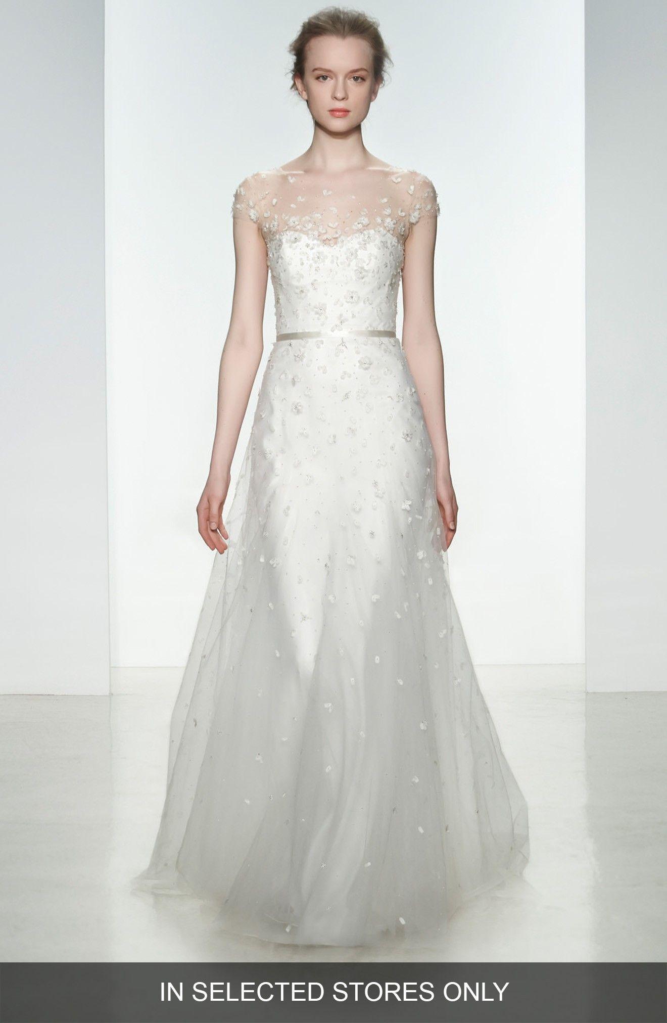 Buy CHRISTOS BRIDAL Ellie Embellished Illusion Neck Tulle Gown ...
