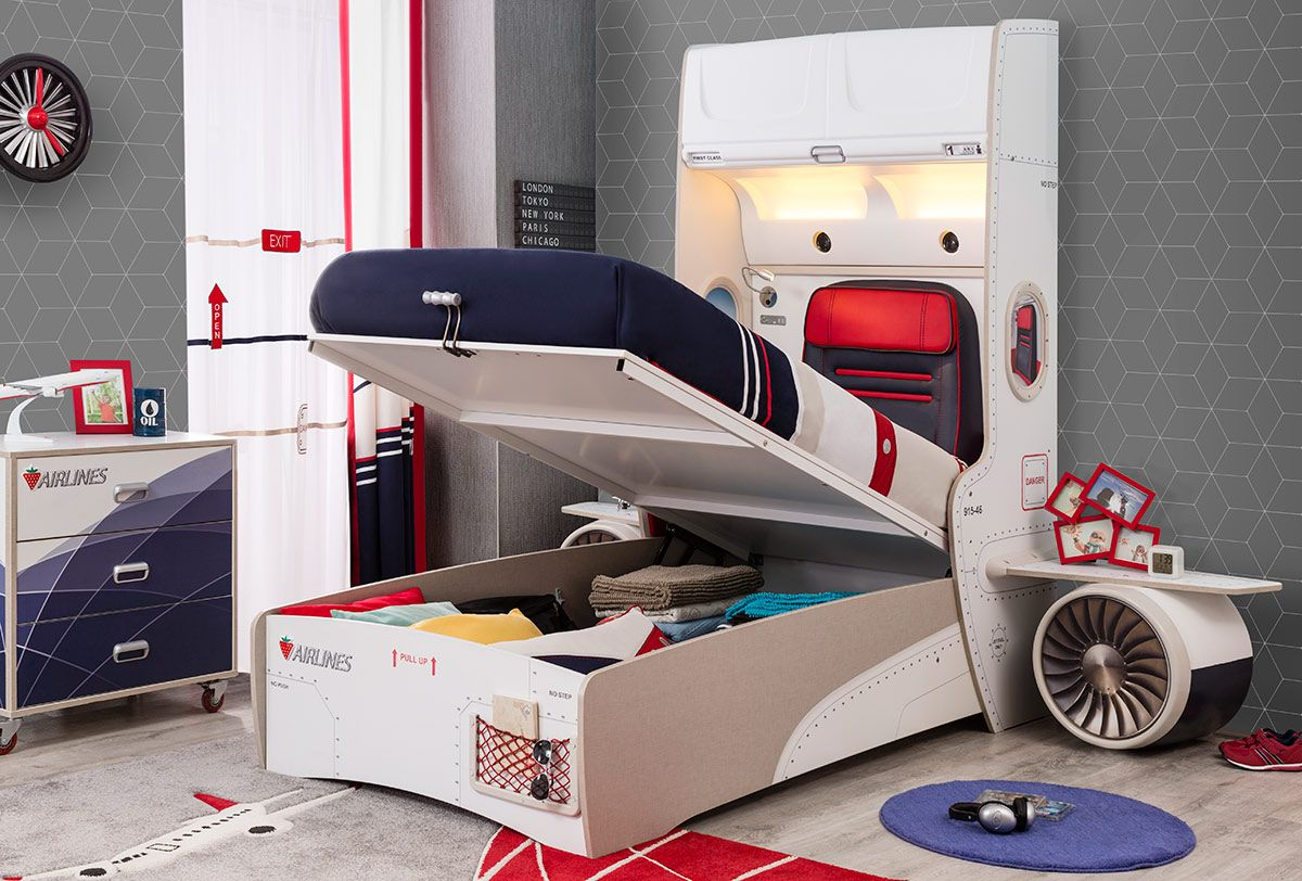 Hidden Cargo Storage Beneath Bed Gas Strut Hinges