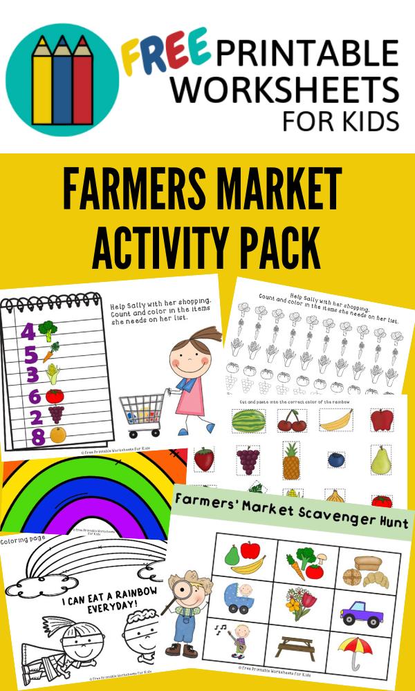 Farmers Market Activities Pack Free Printable Worksheets For Kids 5 Activities W Kids Worksheets Printables Worksheets For Kids Preschool Counting Worksheets