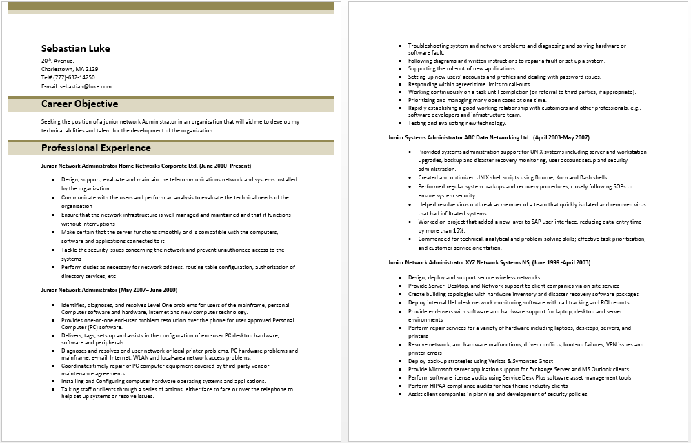 junior network administrator resume administrative resume
