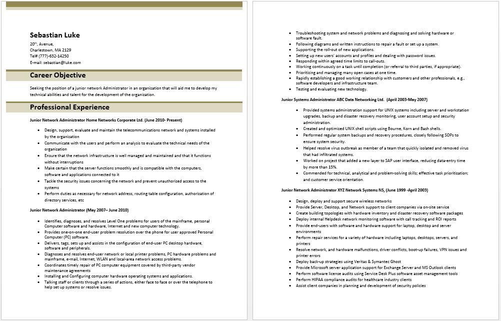 Junior Network Administrator Resume Sample resume