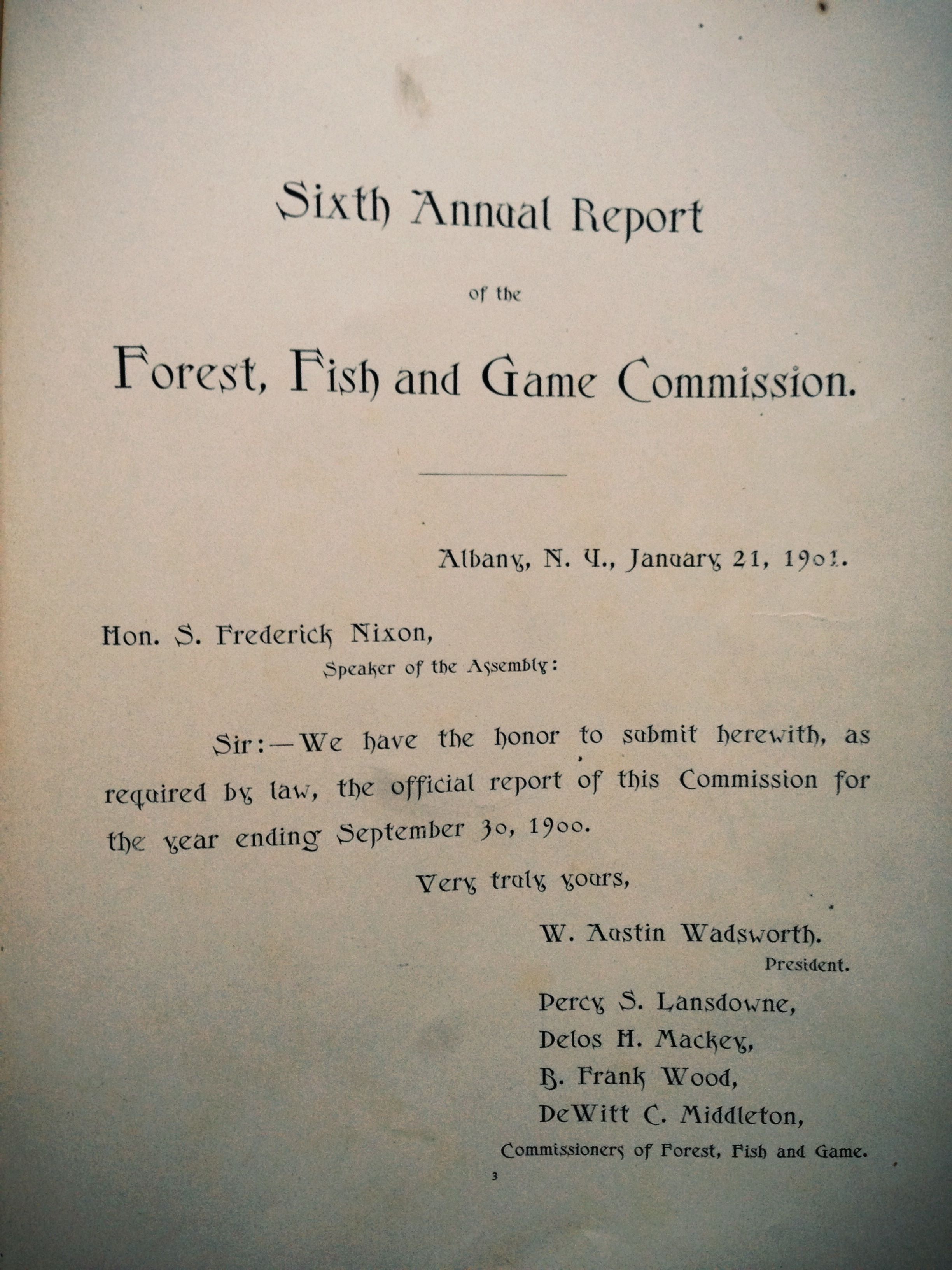 """1900 NEW YORK """"Forest Fish & Game Report"""". 230 Fish"""