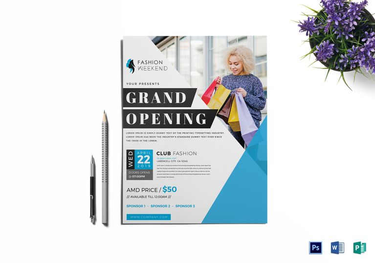 Fashion Grand Opening Flyer Template Design Flyer Templates