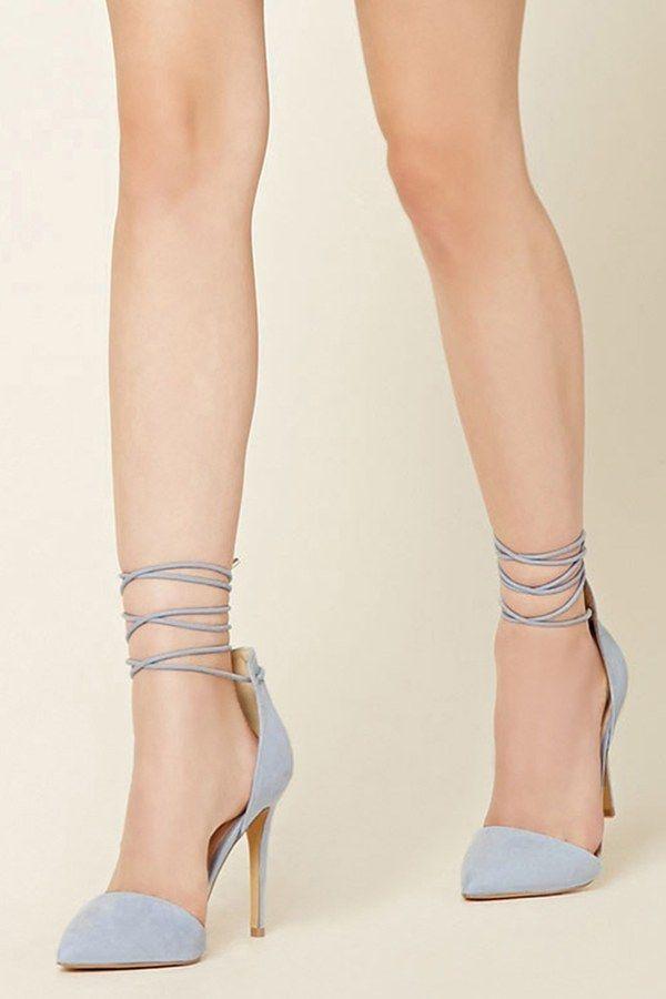 9c6557b7203 Pretty Periwinkle Faux Suede Ankle-Wrap Heels