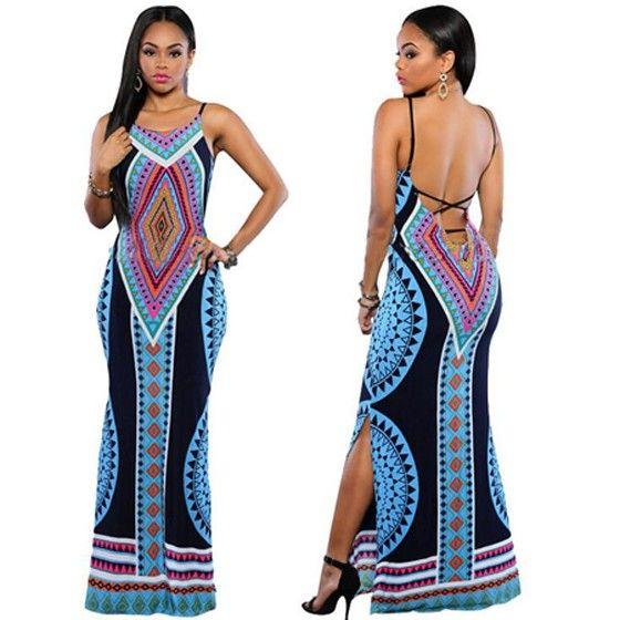 3061c586c15 Black African Tribal Print V-neck Backless Site Slit Spaghetti Strap Maxi  Dress