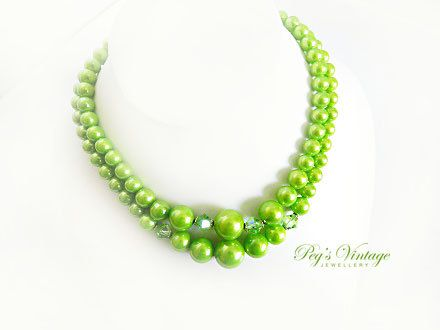 Apple Green Double Strand Beaded Necklace by PegsVintageJewellery, $14.00