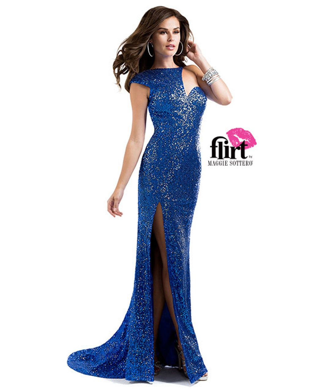 f5f40b37c16 Flirt by Maggie Sottero 2014 Prom Dresses - Brilliant Sapphire Sequin Dress  with Asymmetical Cap Sleeve (38630-P5807) va...Price -  298.00-qOmBTQ8N
