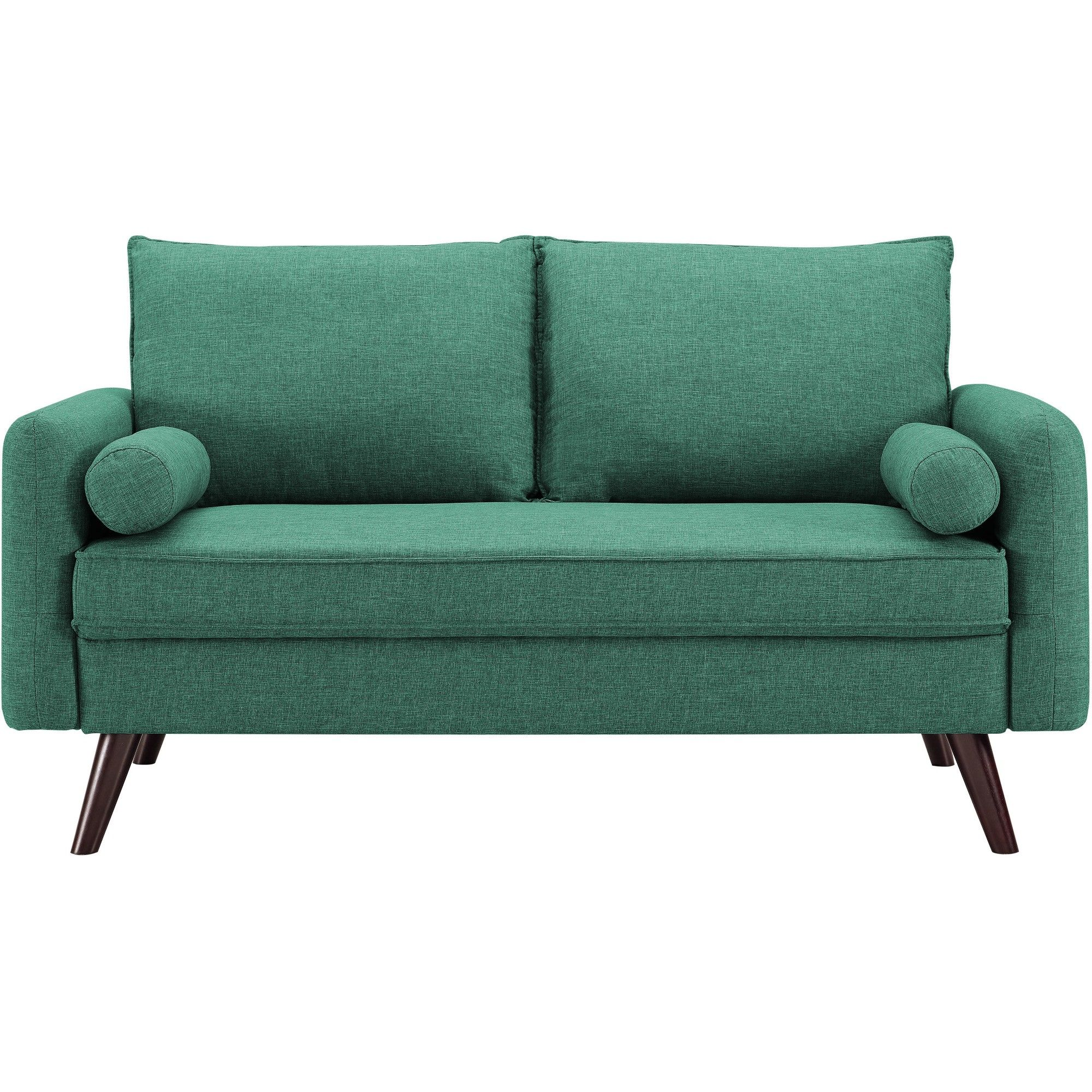 Pleasant Carmel Mid Century Modern Loveseat In Sea Foam Lifestyle Squirreltailoven Fun Painted Chair Ideas Images Squirreltailovenorg