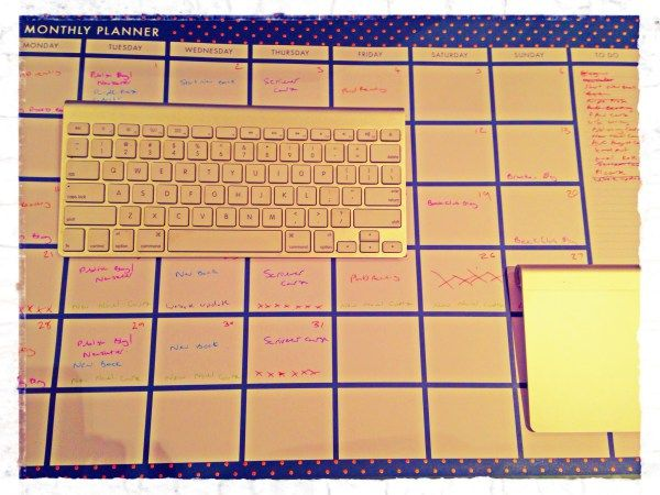 Natasha Lester Author uses a monthly planning calendar to help her fit in her writing time.