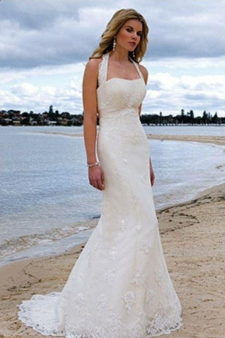 Lace halter wedding dress    Hot Selling Mermaid Halter Sweep Train Lace Summer Beach