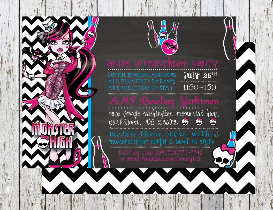 Monster High Bowling Birthday Party Invite, Monster High Pink and ...