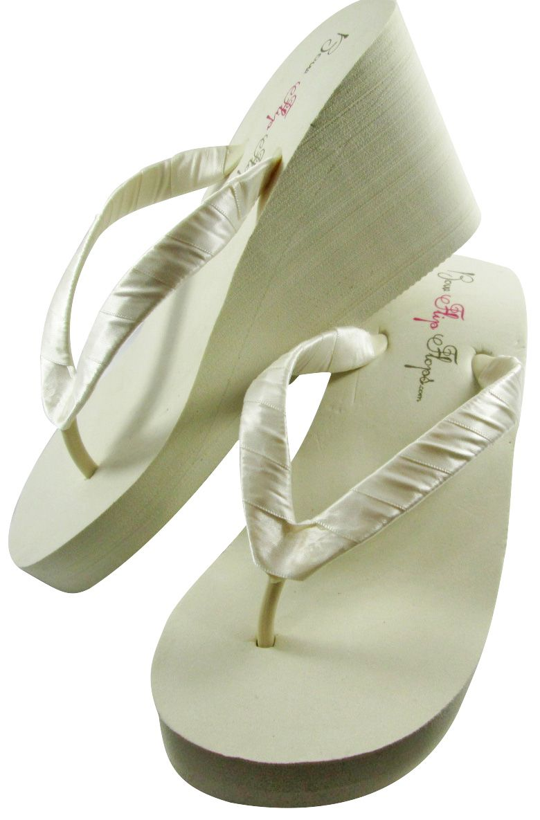 fb951046c205 bridal flip flops wedding flip flops ivory bridesmaid maid honor flower  girl wedge mother bride or groom platform white 3 inch flat beach sandals  shoes ...