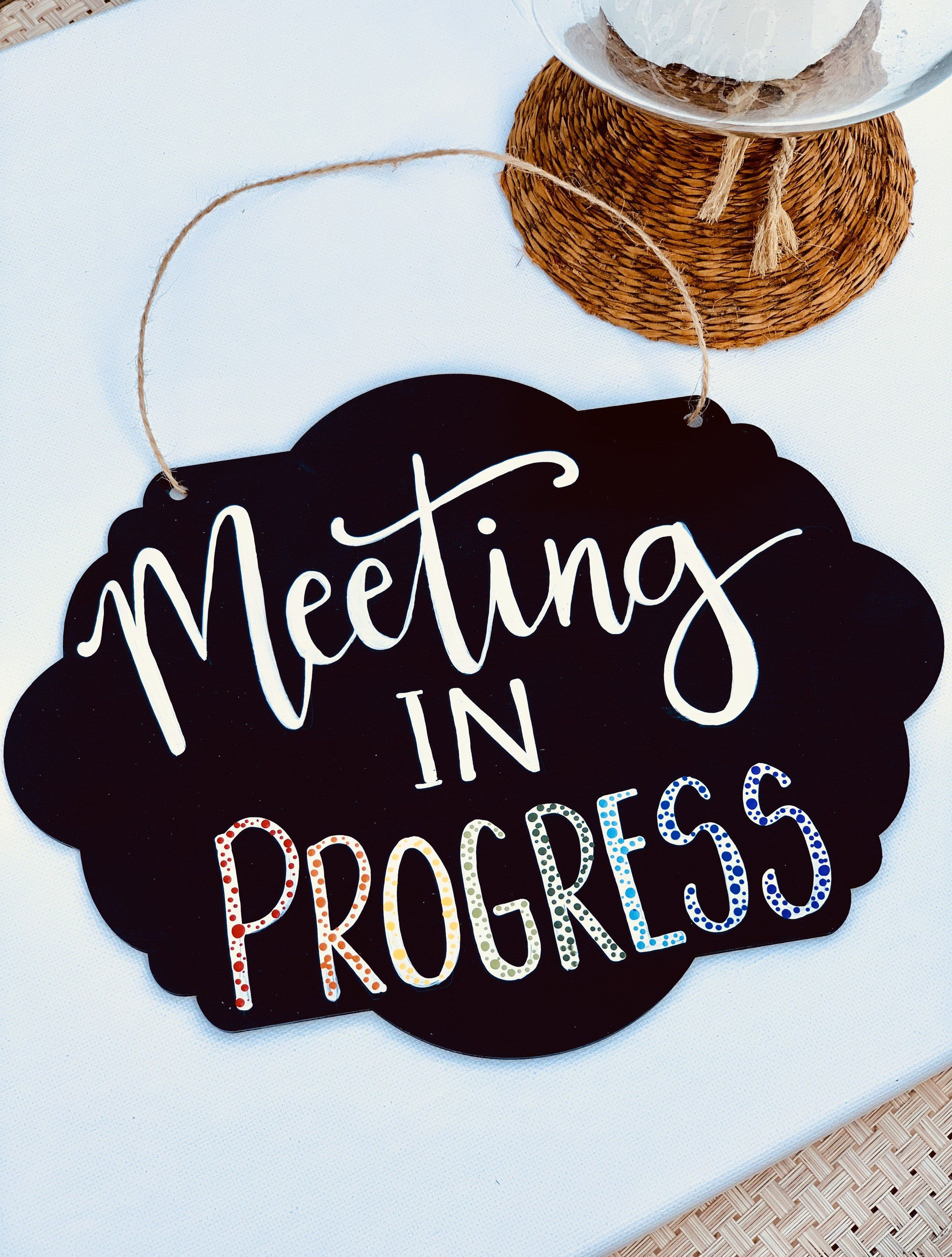 Meeting In Progress Sign Hand Painted Working From Home Sign Meeting Sign Home Office Meeting Sign Perfect For Working From Home Custom Sign Home Signs Progress Meeting in progress door signs