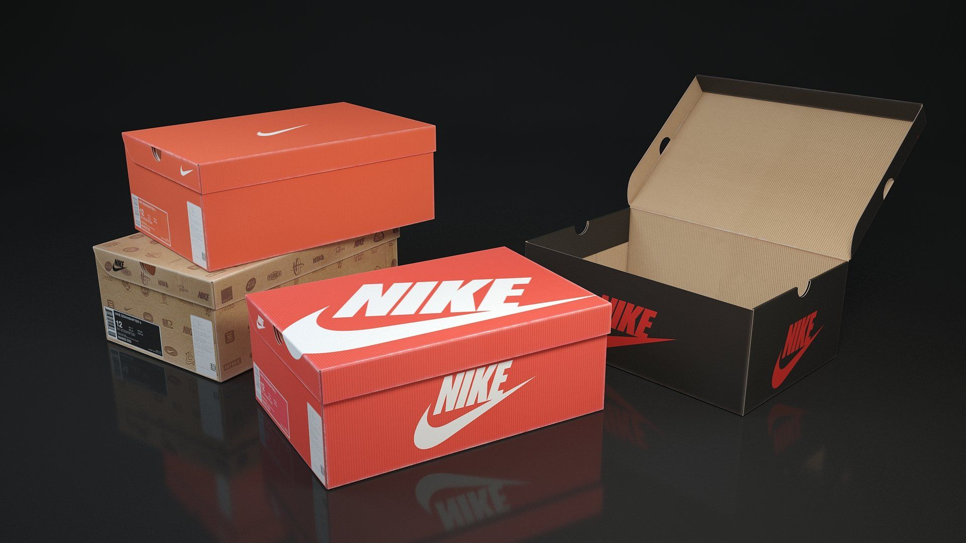 Shoe box Nike 3d 3D model , spon, closedopentypes