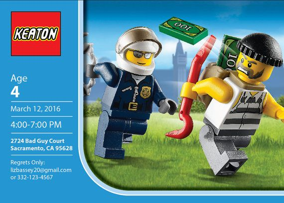 Lego Police Personalized Birthday Invitation by LizBasseyStudios – Lego City Birthday Invitations