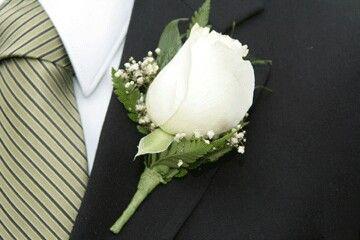Boutineer Found Online Nice And Simple Usher Wedding Duties Wedding Ushers White Rose Boutonniere