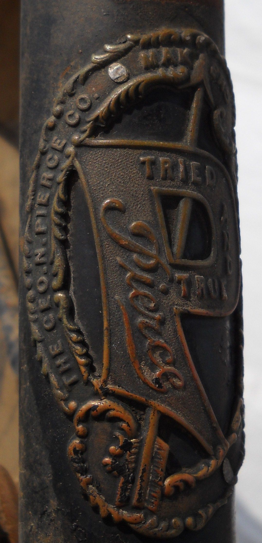 Head badge from an new old stock original Pierce brand bike still in it's original crate.