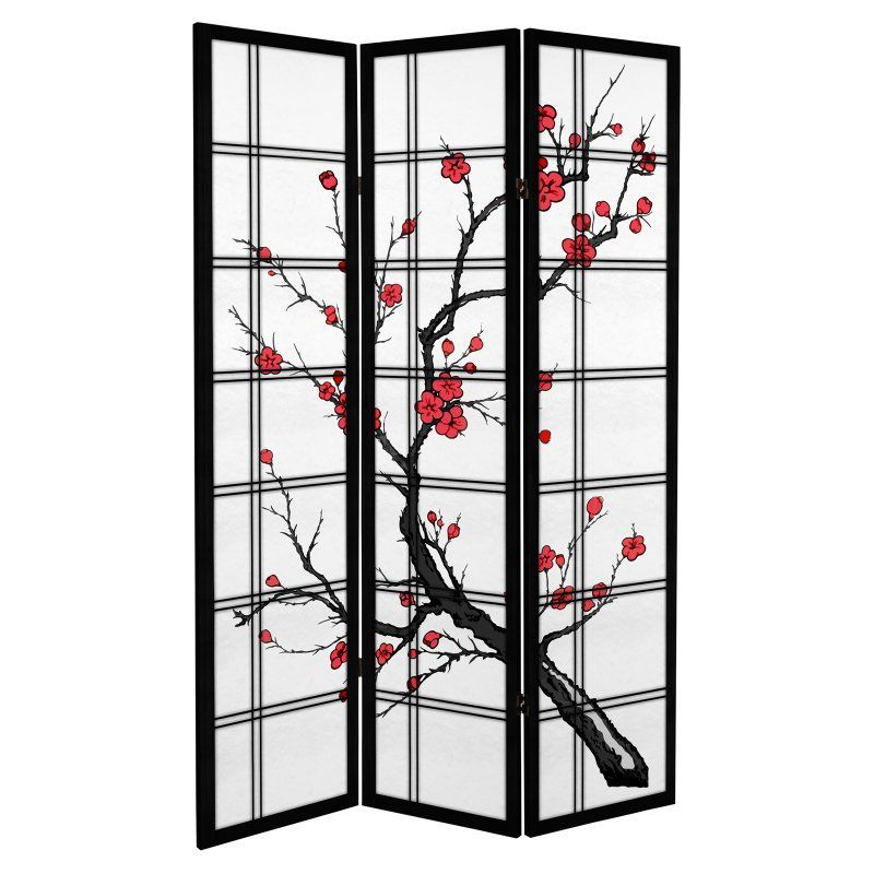 Oriental Furniture Canvas Cherry Blossom 3 Panel Room Divider CAN