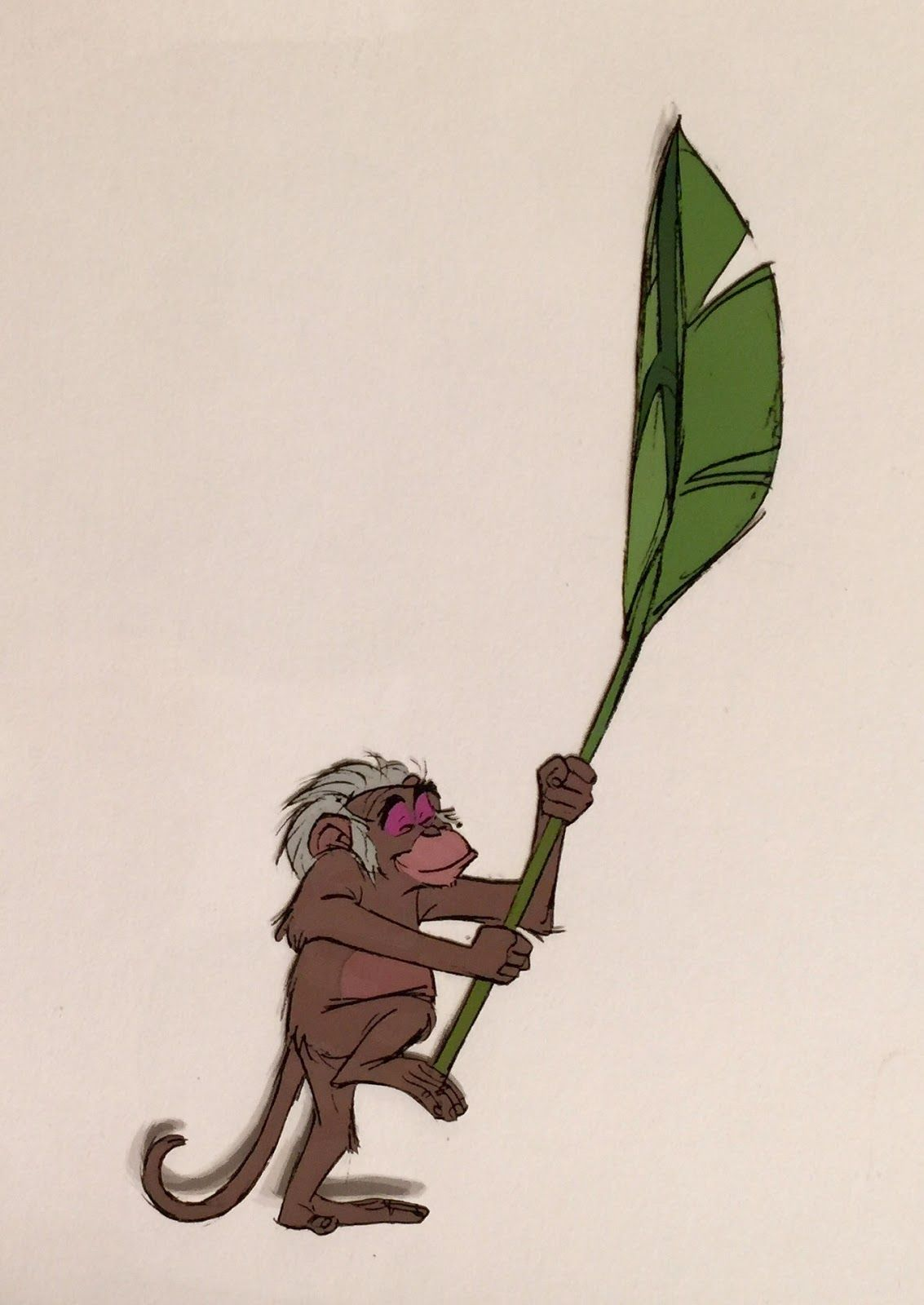 Original hand painted production cels of King Louie, Mowgli, and a