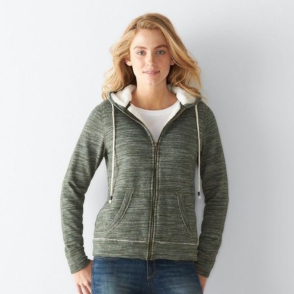 fa384272c Women's SONOMA Goods for Life™ Marled Sherpa Hoodie ($20) ❤ liked on  Polyvore featuring tops, hoodies, dark green, hooded pullover, marled hoodie,  ...