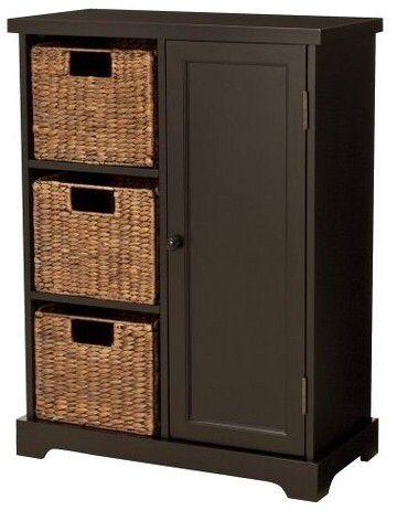 Modern farmhouse storage cabinet with baskets Affiliate | Decoración ...