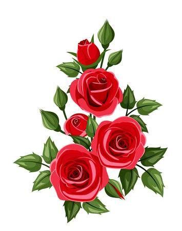 Branch of red roses Vector illustration | Rosa la rumorosa | Red roses, Rose y Illustration